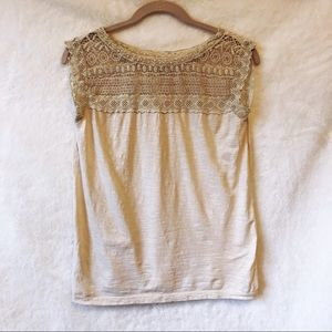 LOFT Cream Chest Laced Top